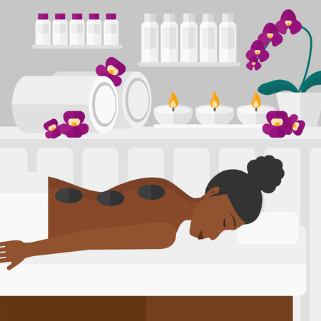An african-american woman relaxing while getting stone therapy massage on the background of spa center vector flat design illustration. Square layout.
