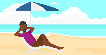 chaise longue: An african-american man sitting in a chaise longue under umbrella on the background of sand beach with blue sea vector flat design illustration. Horizontal layout.