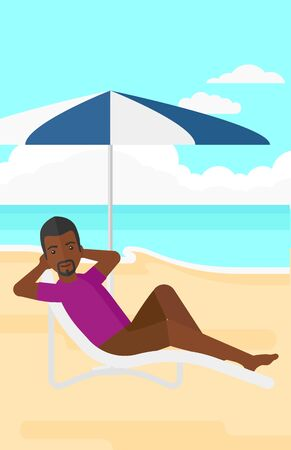 chaise longue: An african-american man sitting in a chaise longue under umbrella on the background of sand beach with blue sea vector flat design illustration. Vertical layout. Illustration