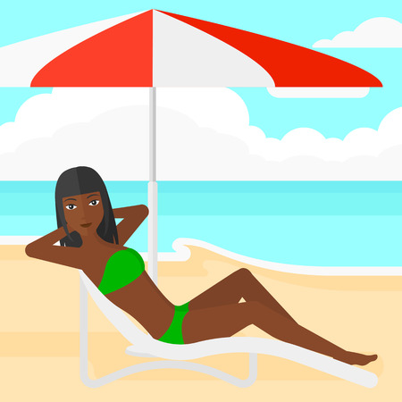 chaise longue: An african-american woman with the beard sitting in a chaise longue under umbrella on the background of sand beach with blue sea vector flat design illustration. Square layout. Illustration