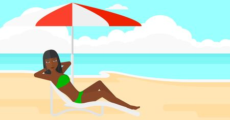 longue: An african-american woman with the beard sitting in a chaise longue under umbrella on the background of sand beach with blue sea vector flat design illustration. Horizontal layout. Illustration