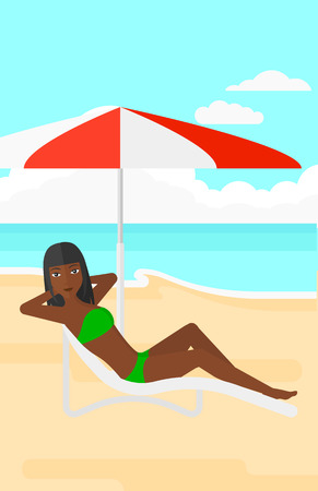 longue: An african-american woman with the beard sitting in a chaise longue under umbrella on the background of sand beach with blue sea vector flat design illustration. Vertical layout.