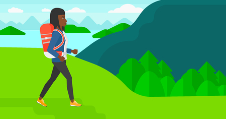 An african-american woman with backpack hiking in mountains vector flat design illustration. Horizontal layout.