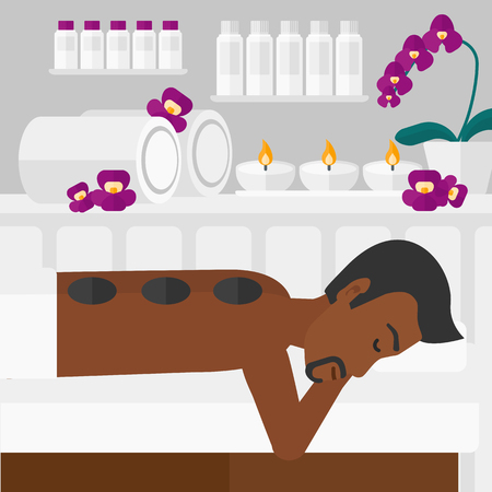 An african-american man relaxing while getting stone therapy massage on the background of spa center vector flat design illustration. Square layout.