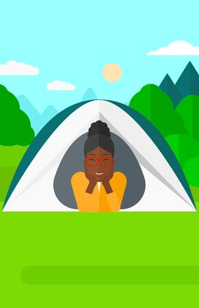 crawling: An african-american woman crawling out from a tent on the background of forest vector flat design illustration. Vertical layout. Illustration