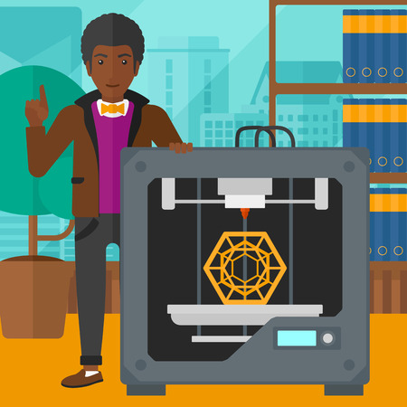 man pointing up: An african-american man standing near 3D printer and pointing forefinger up on the background of panoramic modern office with city view vector flat design illustration. Square layout. Illustration