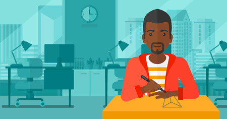 An african-american man making a model with a 3D pen on the background of panoramic modern office with city view vector flat design illustration. Horizontal layout.