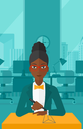 polymerization: An african-american woman making a model with a 3D pen on the background of panoramic modern office with city view vector flat design illustration. Vertical layout. Illustration