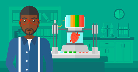 An african-american man standing near 3D printer making a heart on the background of laboratory vector flat design illustration. Horizontal layout.