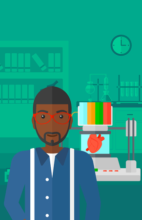 polymerization: An african-american man standing near 3D printer making a heart on the background of laboratory vector flat design illustration. Vertical layout.