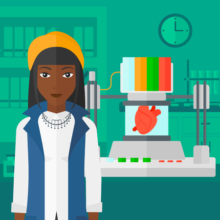 An african-american woman with 3D printer making a heart on the background of laboratory vector flat design illustration. Square layout. Illustration