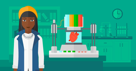 An african-american woman with 3D printer making a heart on the background of laboratory vector flat design illustration. Horizontal layout.