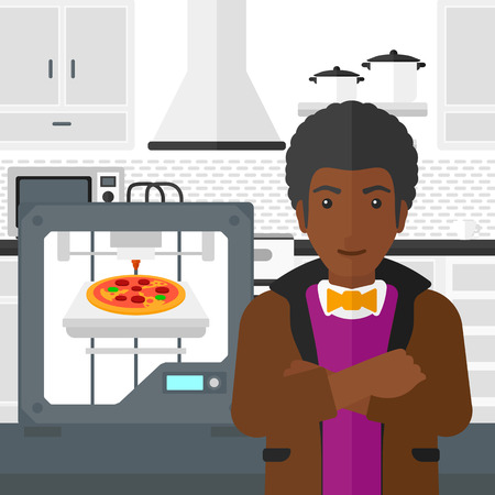 polymerization: An african-american man standing near 3D printer making a pizza on a kitchen background vector flat design illustration. Square layout.