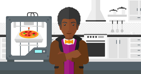 An african-american man standing near 3D printer making a pizza on a kitchen background vector flat design illustration. Horizontal layout. Illustration