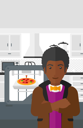 An african-american man standing near 3D printer making a pizza on a kitchen background vector flat design illustration. Vertical layout. Illustration