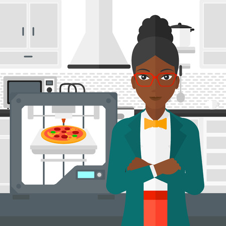 An african-american woman standing near 3D printer making a pizza on a kitchen background vector flat design illustration. Square layout. Illustration