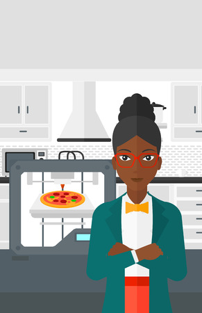 An african-american woman standing near 3D printer making a pizza on a kitchen background vector flat design illustration. Vertical layout.