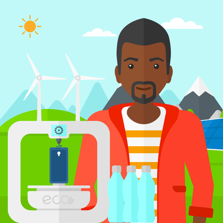 polymerization: An african-american man standing near 3D printer making a smartphone using recycled plastic on the background of solar panels and wind turbines in mountains vector flat design illustration. Square layout. Illustration