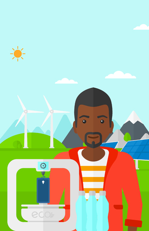 An african-american man standing near 3D printer making a smartphone using recycled plastic on the background of solar panels and wind turbines in mountains vector flat design illustration. Vertical layout. Illustration