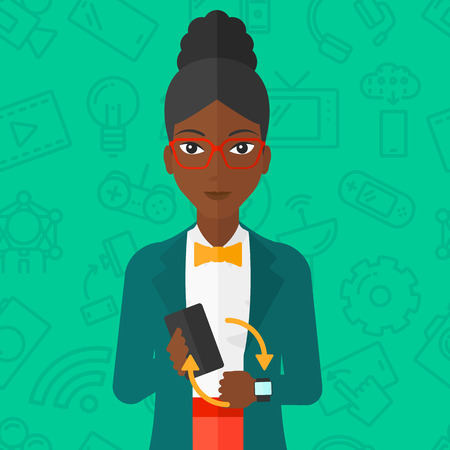 smart woman: An african-american woman holding a smartphone and looking at her smart watch on a green background with technology icons vector flat design illustration. Square layout. Illustration