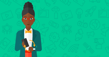 smart woman: An african-american woman holding a smartphone and looking at her smart watch on a green background with technology icons vector flat design illustration. Horizontal layout.