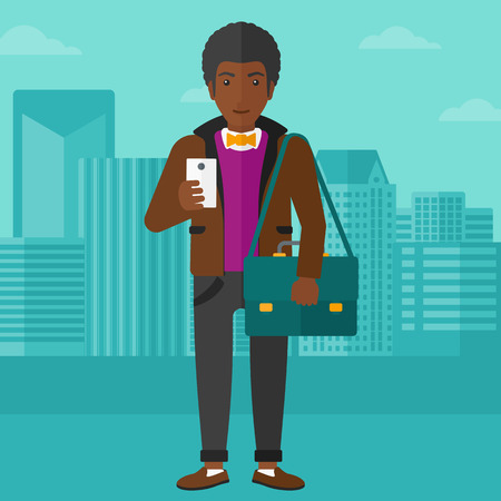 using smartphone: An african-american man using a smartphone on a city background vector flat design illustration. Square layout.