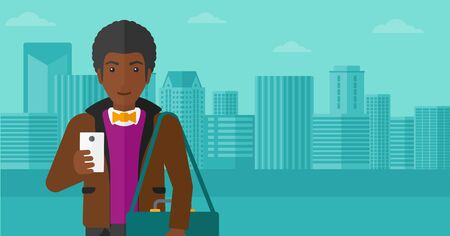 using smartphone: An african-american man using a smartphone on a city background vector flat design illustration. Horizontal layout. Illustration