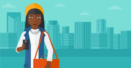 using smartphone: An african-american woman using a smartphone on a city background vector flat design illustration. Horizontal layout. Illustration