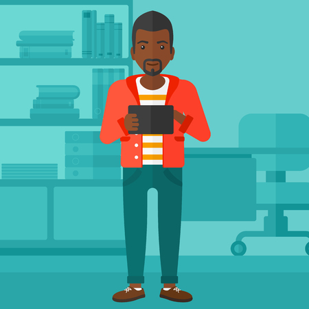 An african-american man using a tablet computer on the background of business office vector flat design illustration. Square layout.