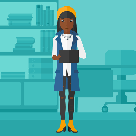 woman tablet: An african-american woman using a tablet computer on the background of business office vector flat design illustration. Square layout.