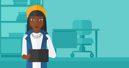 woman tablet: An african-american woman using a tablet computer on the background of business office vector flat design illustration. Horizontal layout.