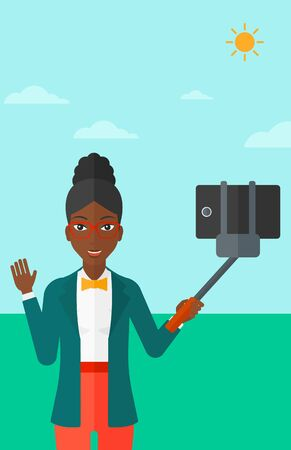smart phone woman: An african-american woman making selfie with a selfie-stick on the background of blue sky vector flat design illustration. Vertical layout.