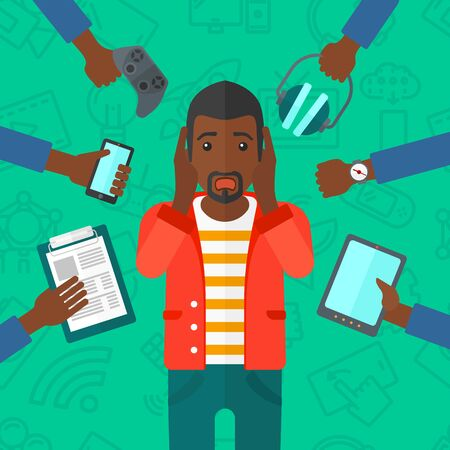 despair: An african-american man in despair and many hands with gadgets  around him on a green background with technology icons vector flat design illustration. Square layout.