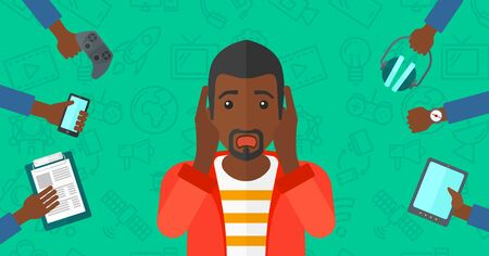 despair: An african-american man in despair and many hands with gadgets  around him on a green background with technology icons vector flat design illustration. Horizontal layout.