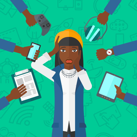 many hands: An african-american woman in despair and many hands with gadgets  around him on a green background with technology icons vector flat design illustration. Square layout.