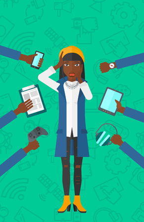 smart phone woman: An african-american woman in despair and many hands with gadgets  around him on a green background with technology icons vector flat design illustration. Vertical layout.