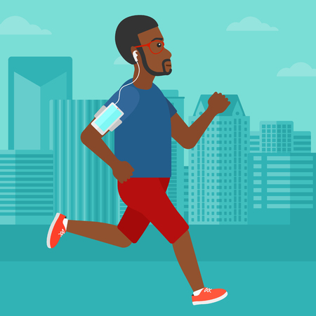 An african-american man training with earphones and a smart phone armband on a city background vector flat design illustration. Square layout. 向量圖像