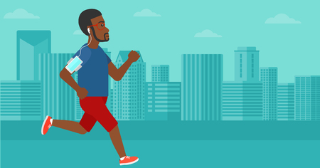 armband: An african-american man training with earphones and a smart phone armband on a city background vector flat design illustration. Horizontal layout.