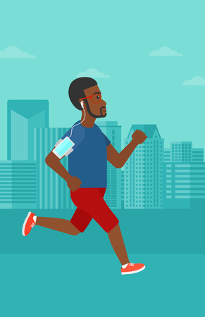 armband: An african-american man training with earphones and a smart phone armband on a city background vector flat design illustration. Vertical layout.