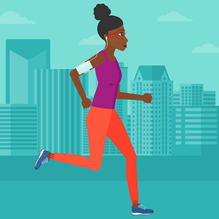 smart phone woman: An african-american woman training with earphones and a smart phone armband on a city background vector flat design illustration. Square layout.
