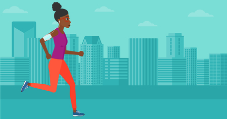 smart phone woman: An african-american woman training with earphones and a smart phone armband on a city background vector flat design illustration. Horizontal layout. Illustration