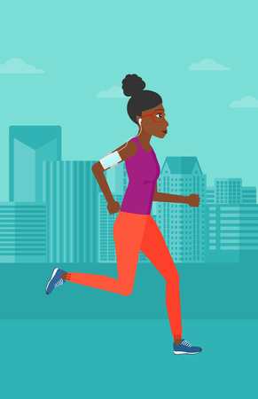 smart phone woman: An african-american woman training with earphones and a smart phone armband on a city background vector flat design illustration. Vertical layout.
