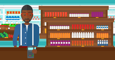 wireless terminals: An african-american man with smart watch on the wrist making payment transaction on the background of supermarket shelves with products vector flat design illustration. Horizontal layout. Illustration