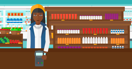 smart woman: An african-american woman with smart watch on the wrist making payment transaction on the background of supermarket shelves with products vector flat design illustration. Horizontal layout. Illustration