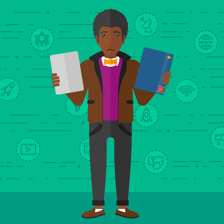 choosing: An african-american confused man choosing between a tablet computer and a paper book on a green background with technology icons vector flat design illustration. Square layout.
