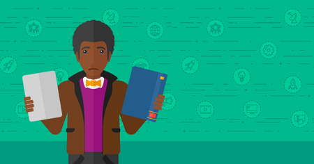 decide deciding: An african-american confused man choosing between a tablet computer and a paper book on a green background with technology icons vector flat design illustration. Horizontal layout.