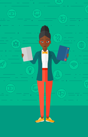 choosing: An african-american confused woman choosing between a tablet computer and a paper book on a green background with technology icons vector flat design illustration. Vertical layout.