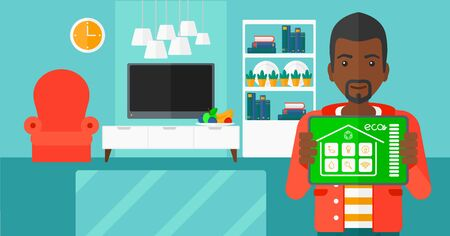 modern living room: An african-american man holding a tablet computer with smart home application on a screen on the background of modern  living room vector flat design illustration. Horizontal layout.