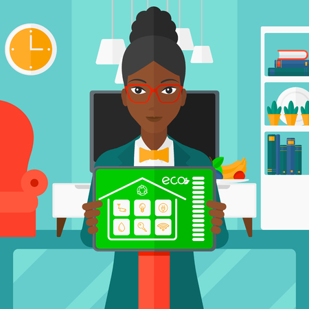 smart woman: An african-american woman holding a tablet computer with smart home application on a screen on the background of modern  living room vector flat design illustration. Square layout. Illustration