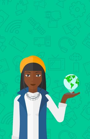 international internet: An african-american woman standing with a smartphone in a hand and a model of globe above the device on a green background with technology icons vector flat design illustration. Vertical layout. Illustration